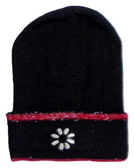 Black Woolen Beanie Cap with Red Border