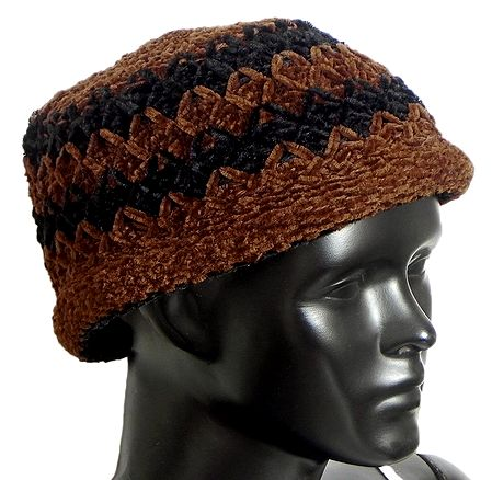 Ladies Hand Knitted Black and Brown Woolen Beanie Cap
