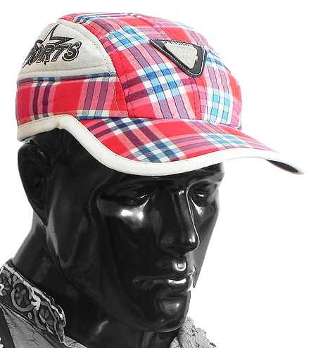 Red, Blue and White Check Gents Golf Cap