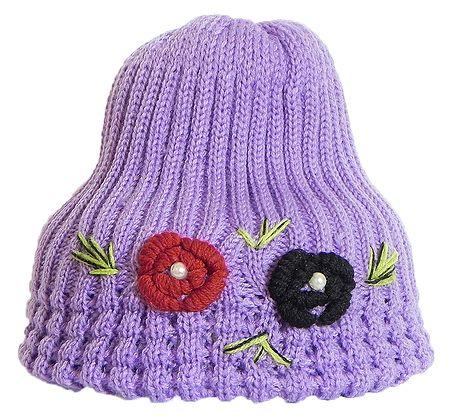 Ladies Hand Knitted Mauve Woolen Beanie Cap