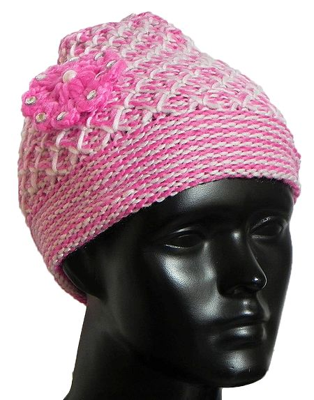 Ladies Hand Knitted Pink and White Woolen Beanie Cap