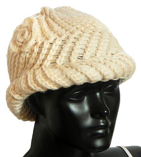 Ladies Hand Knitted Cream Woolen Beanie Cap