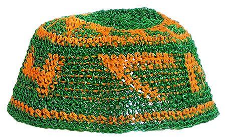 Green with Yellow Thread Crocheted Muslim Prayer Cap