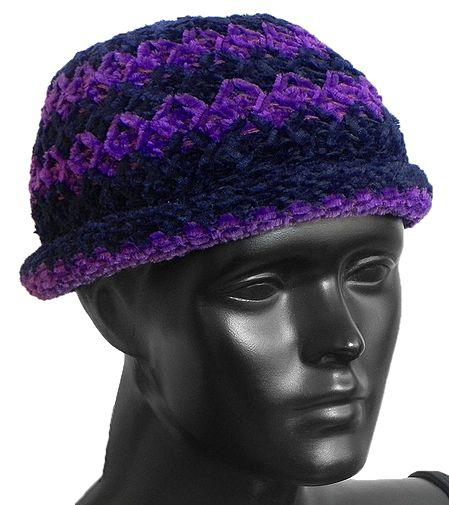 Ladies Hand Knitted Black with Purple Stripe Beanie Woolen Hat