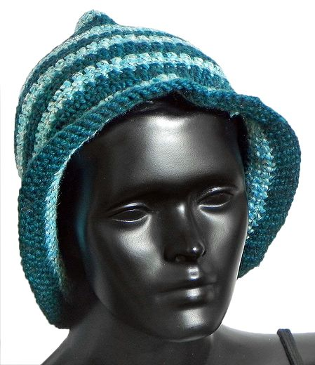 Hand Crocheted Light Cyan Blue with Dark Blue Stripe Ladies Woolen Hat
