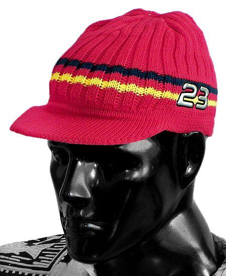 Hand Knitted Red Woolen Gents Baseball Cap