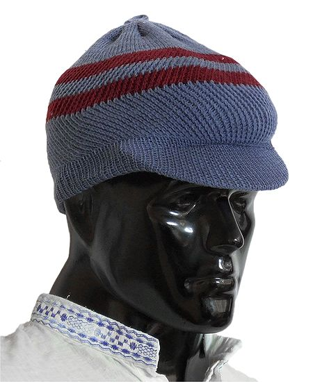 Bluish Grey With Maroon Gents Woolen Baseball Cap