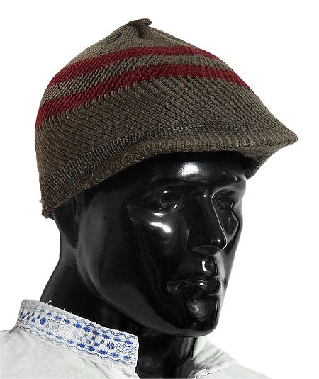 Brown With Maroon Woolen Baseball Cap