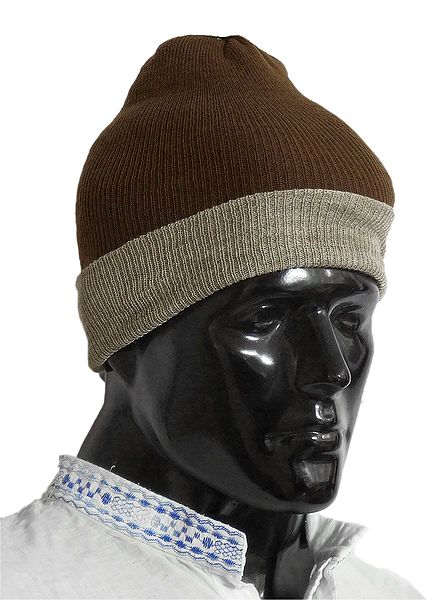 Dark Brown with Light Brown Gents Woolen Beanie Cap
