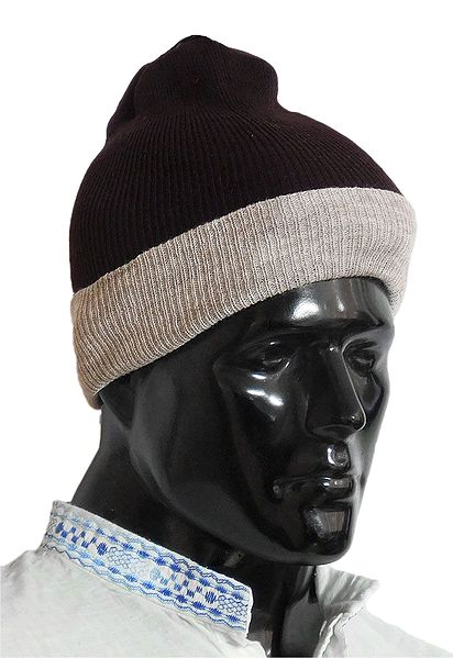 Dark Brown Gents Woolen Beanie Cap