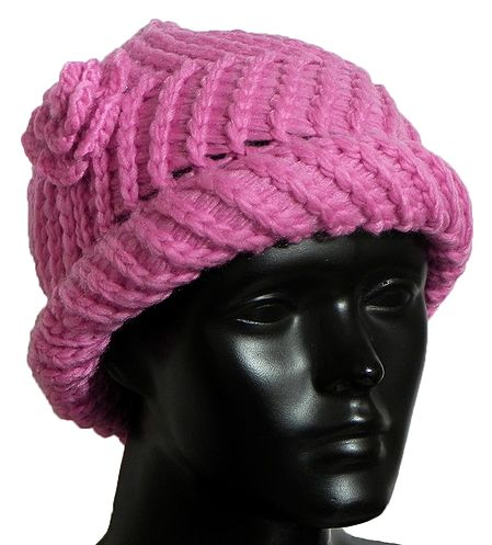 Ladies Hand Knitted Shoking Pink Woolen Beanie Cap