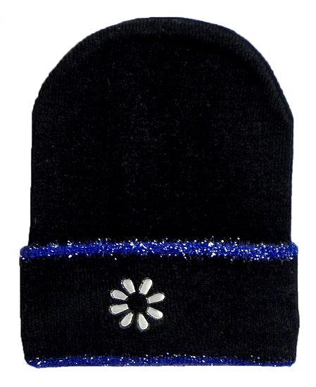 Black Woolen Beanie Cap with Blue Border