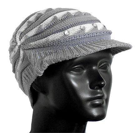 Grey with White Ladies Woolen Cap