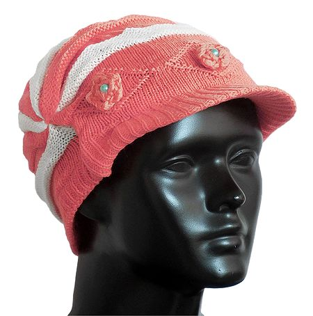 Dark Peach with White Ladies Woolen Cap