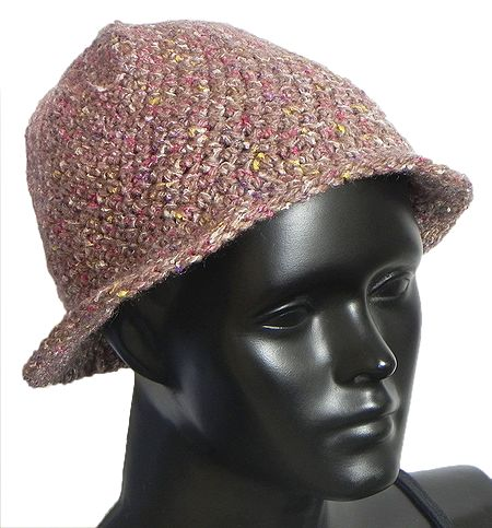 Hand Crocheted Brown Ladies Woolen Hat