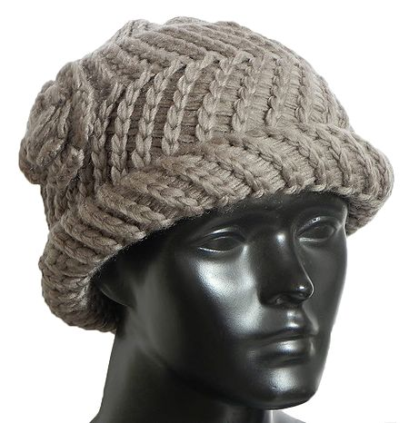Ladies Hand Knitted Chamoise Brown Woolen Beanie Cap
