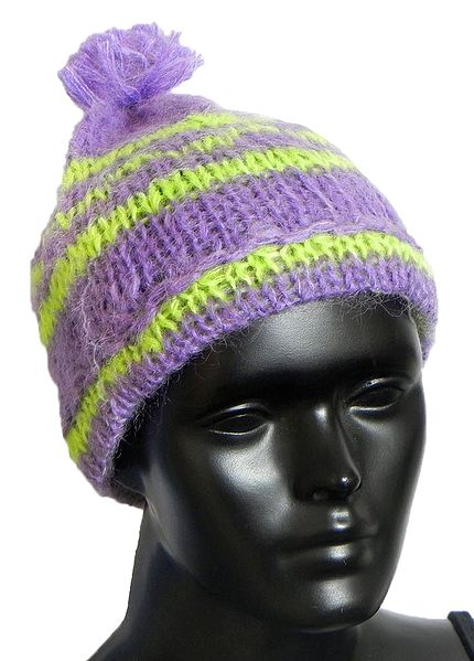 Hand Knitted Mauve with Green Stripe Ladies Woolen Cap