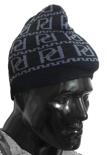 Grey Design on Black Woolen Gents Beanie Cap