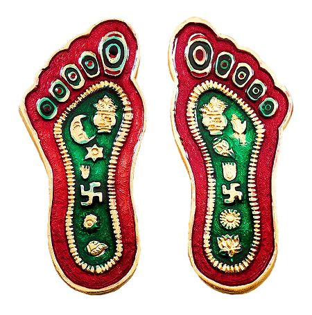 Red with Green Laquered Metal Deity Charan