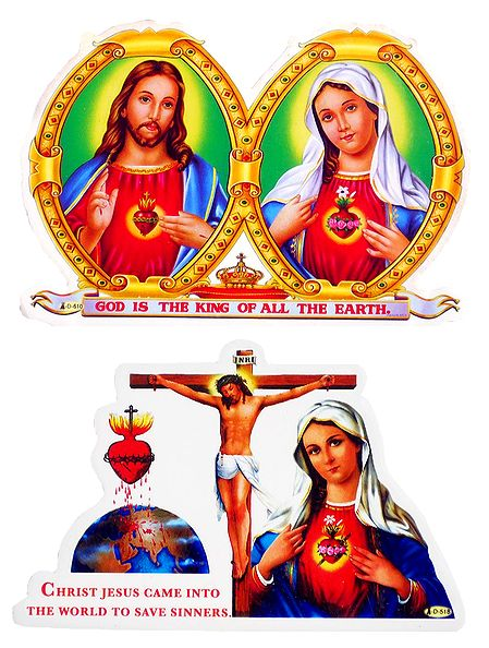 Jesus and Mother Mary - Set of 2 Christian Stickers