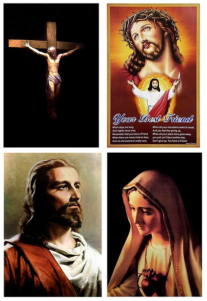 Mother Mary and Jesus Christ - Set of 4 Posters