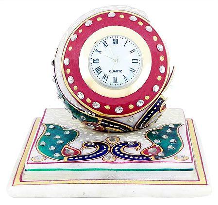Decorative Marble Table Clock on a Chowki