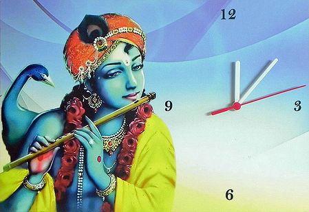 Wall Clock on Hardboard with Krishna Picture