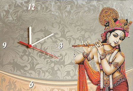 Wall Clock on Hardboard with Murlidhara Krishna Picture