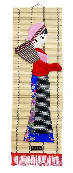 Appliqued Cloth Tea Plucker on Woven Bamboo Strips - Wall Hanging