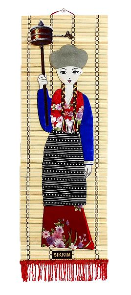 Appliqued Cloth Girl with Mane on Woven Bamboo Strips - Wall Hanging
