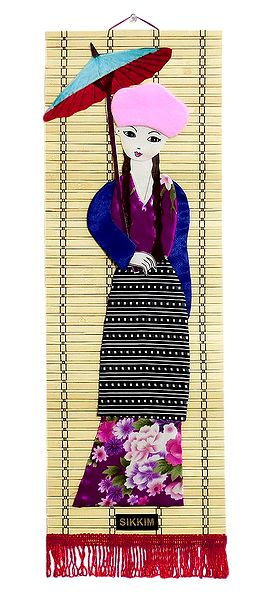 Appliqued Cloth Girl with Umbrella on Woven Bamboo Strips - Wall Hanging