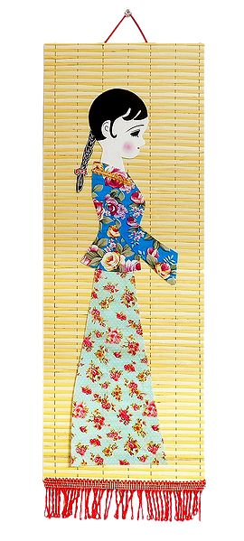 Appliqued Cloth Girl on Woven Bamboo Strips - Wall Hanging