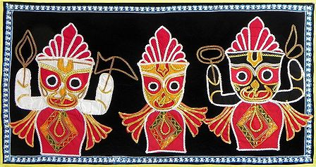 Appliqued Jagannthdev, Balaram and Subhadra on Black Velvet Cloth - (Wall Hanging)