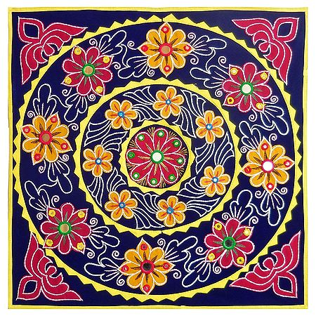 Appliqued and Embroidered Flowers on Blue Velvet Cloth - Wall Hanging