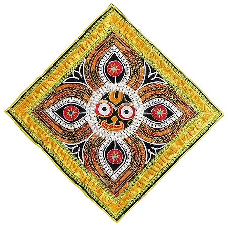 Appliqued Jagannathdev Face on Black Velvet Cloth - Wall Hanging