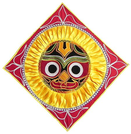 Appliqued Jagannathdev Face on Red Velvet Cloth - (Wall Hanging)