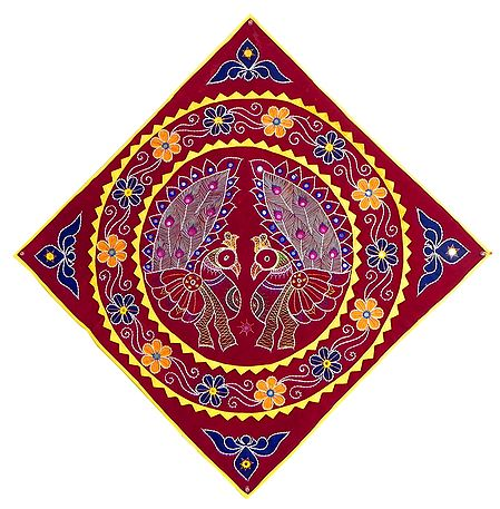 Embroidered Peacock with Applique on Red Velvet Cloth -  Wall Hanging