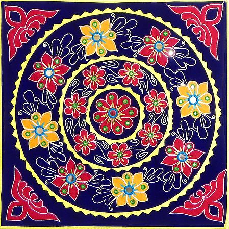 Appliqued and Embroidered Flowers on Blue Velvet Cloth - (Wall Hanging)