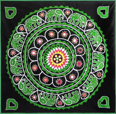Green Appliqued Elephants on Black Cotton Cloth - Wall Hanging
