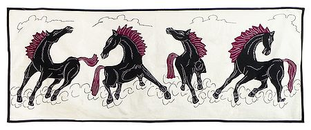 Appliqued Four Wild Horses - Wall Hanging