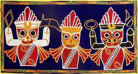 Appliqued Jagannthdev, Balaram and Subhadra on Blue Velvet Cloth - (Wall Hanging)