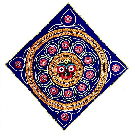 Appliqued and Embroidered Face of Jagannathdev Decorated with Golden Zari on Blue Velvet Cloth - (Wall Hanging)