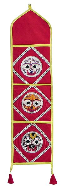 Letter and Paper Holder with Three Pockets in Red Velvet Cloth with Appliqued Jagannathdev - (Wall Hanging)