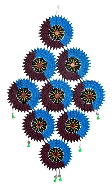 Cluster of Suns in Appliqued Cotton Cloth - Wall Hanging
