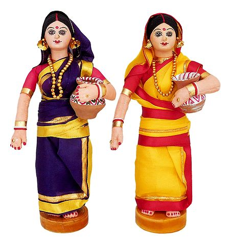 Pair of Bengali Lady Going to Fetch Water - Cloth doll