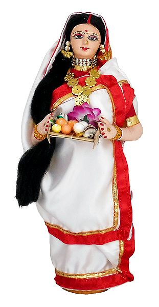 Bengali Lady Going for Puja