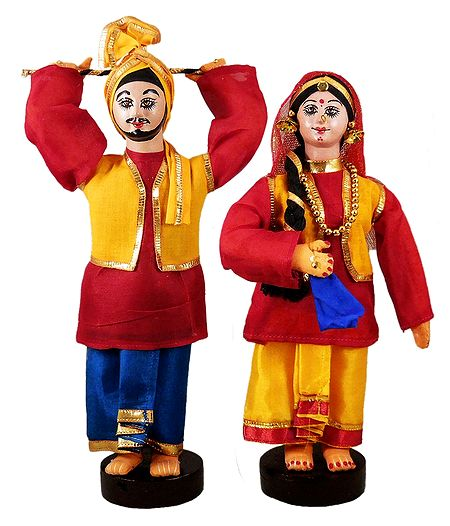 Pair of Bhangra Dancers - Cloth Dolls