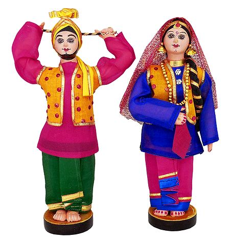 Pair of Bhangra Dancers from Punjab