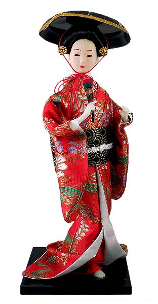 Geisha Doll in Red Kimono Dress Holding Fan