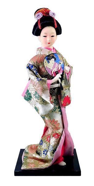 Japanese Geisha Doll in Brocade Kimono Dress Holding Fan